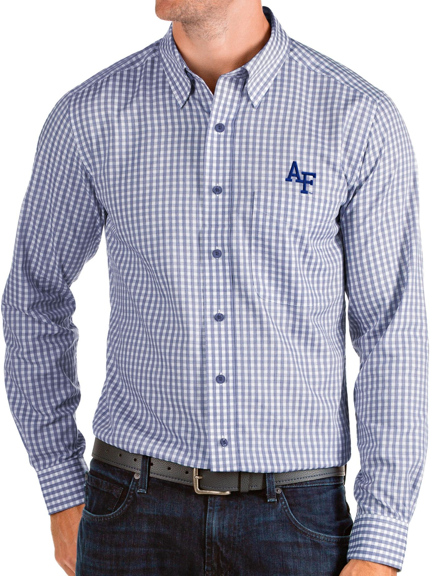 Antigua Men's Air Force Falcons Blue Structure Button Down Long Sleeve Shirt