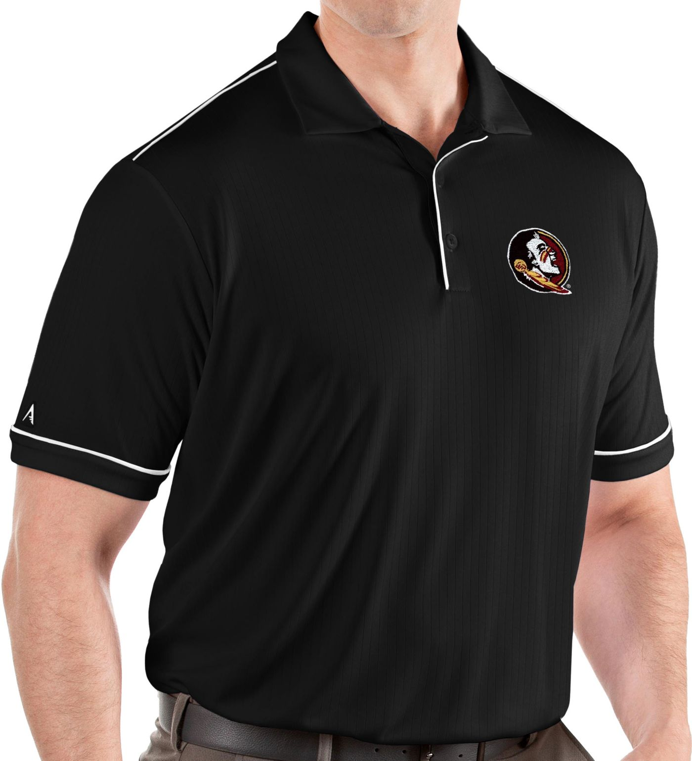 Antigua Men's Florida State Seminoles Salute Performance Black Polo