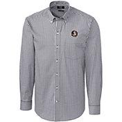 Cutter & Buck Men's Florida State Seminoles Grey Stretch Gingham Long Sleeve Shirt