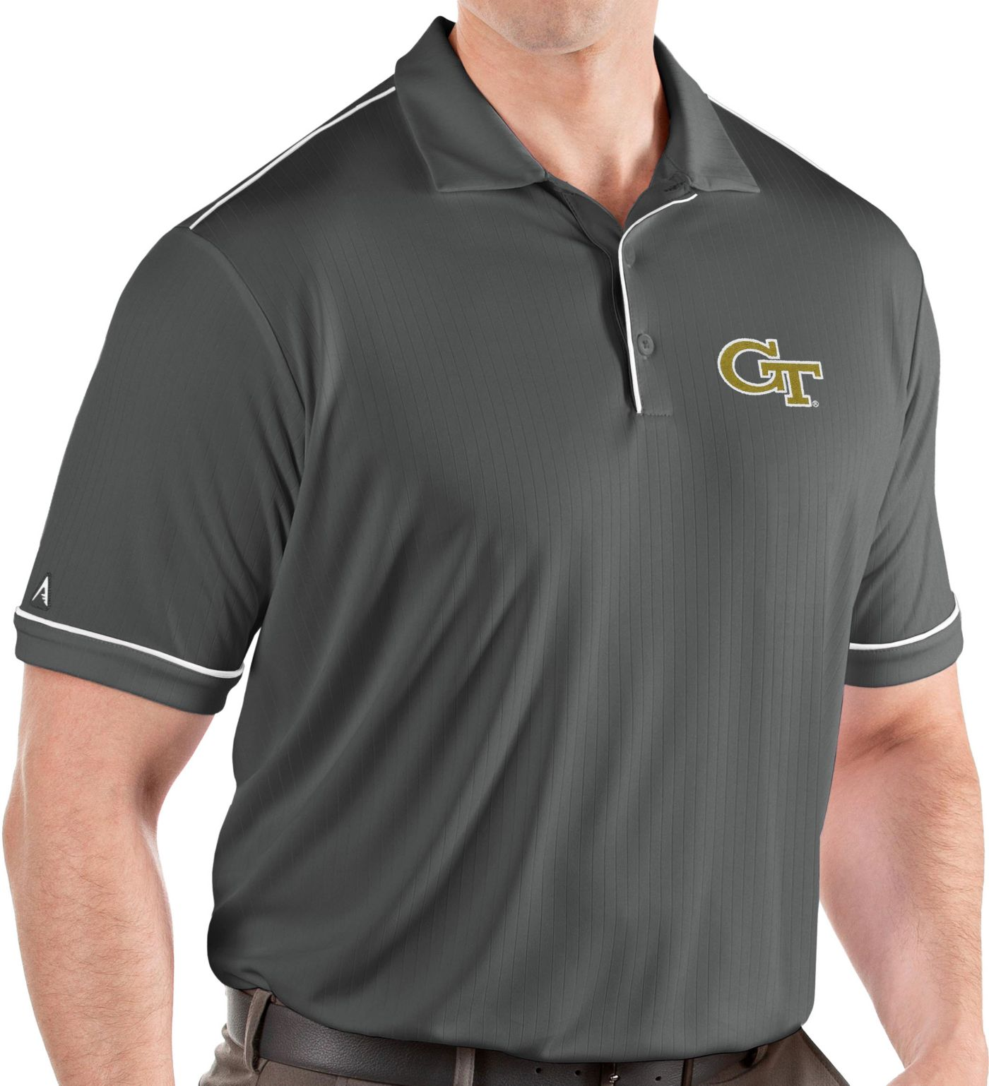 Antigua Men's Georgia Tech Yellow Jackets Grey Salute Performance Polo