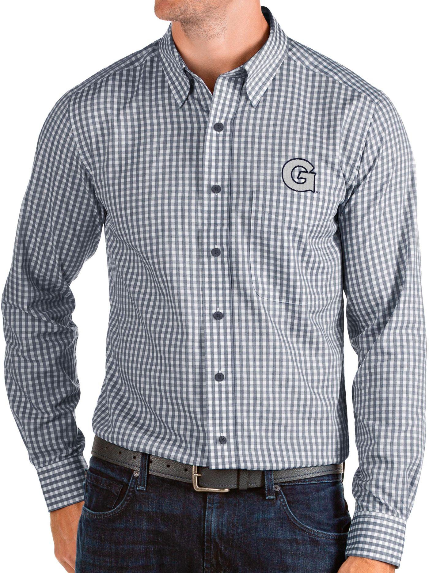 Antigua Men's Georgetown Hoyas Blue Structure Button Down Long Sleeve Shirt