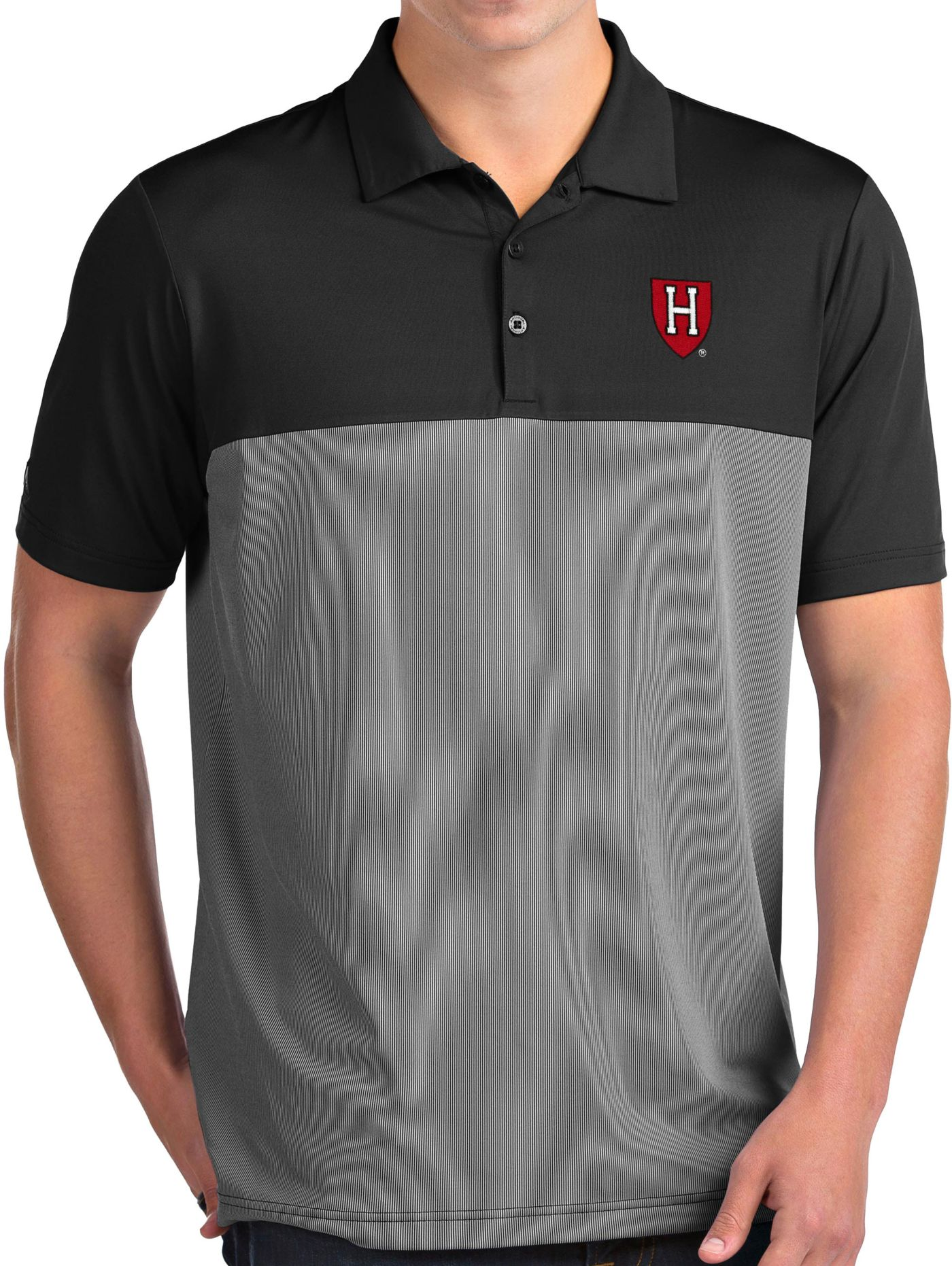 Antigua Men's Harvard Crimson Venture Black Polo