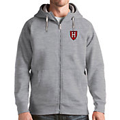 Antigua Men's Harvard Crimson Grey Victory Full-Zip Hoodie