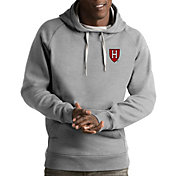 Antigua Men's Harvard Crimson Grey Victory Pullover Hoodie