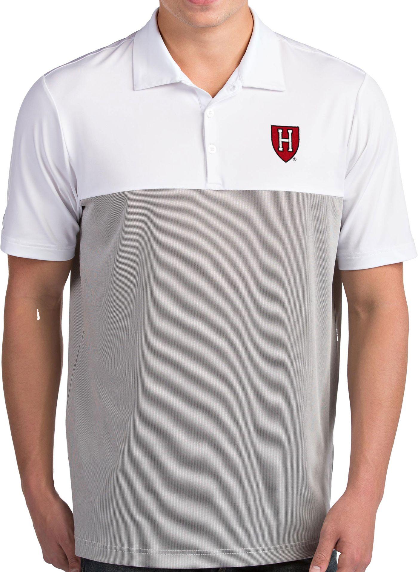 Antigua Men's Harvard Crimson Venture White Polo