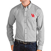 Antigua Men's Houston Cougars Grey Structure Button Down Long Sleeve Shirt