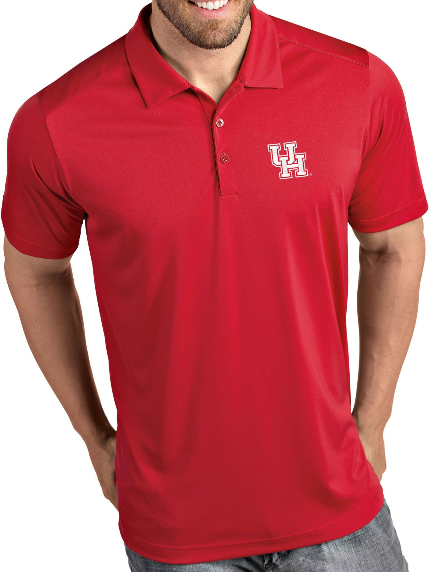 Antigua Men's Houston Cougars Red Tribute Performance Polo