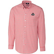 Cutter & Buck Men's Ohio State Buckeyes Scarlet Stretch Gingham Long Sleeve Shirt
