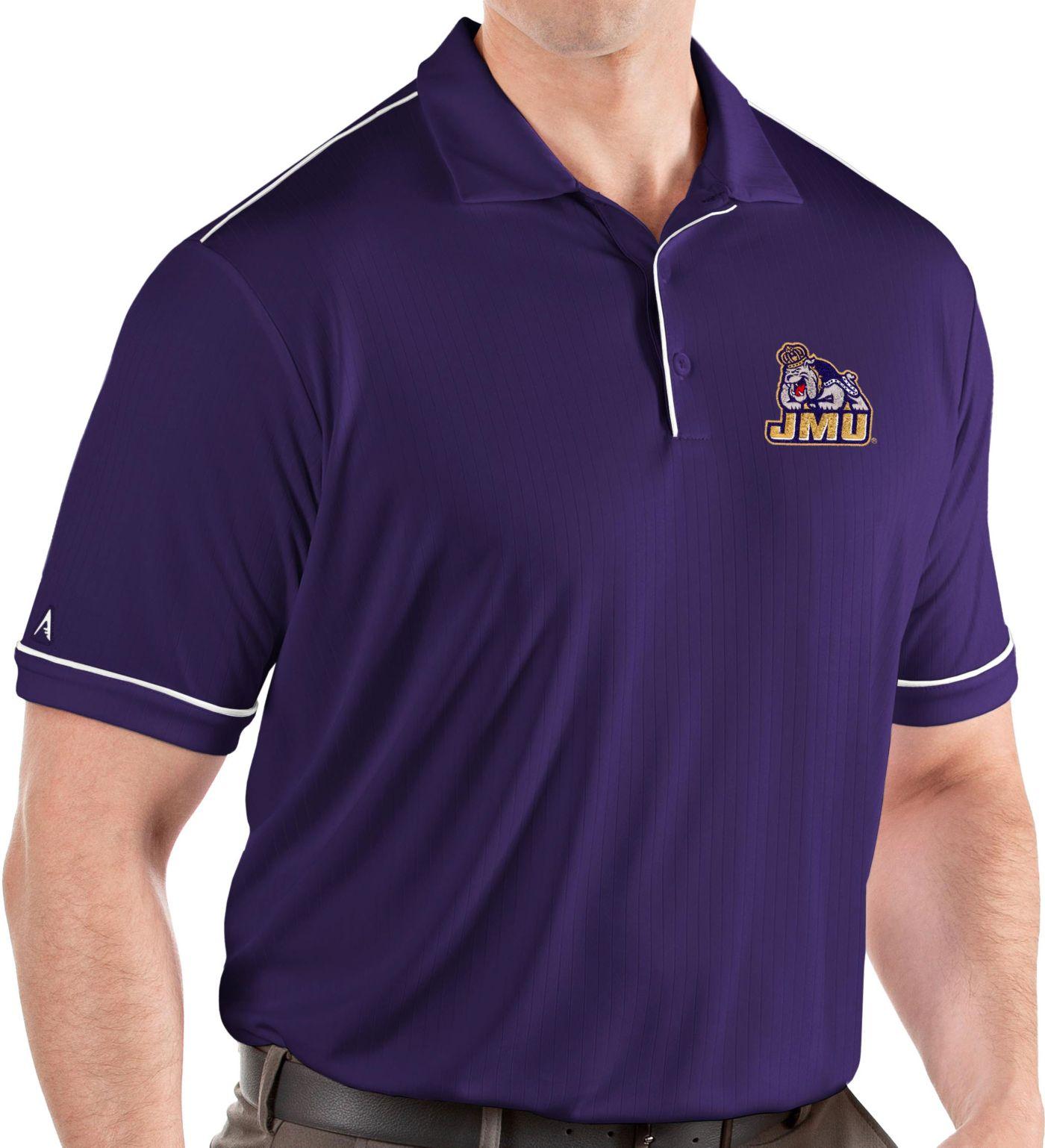 Antigua Men's James Madison Dukes Purple Salute Performance Polo