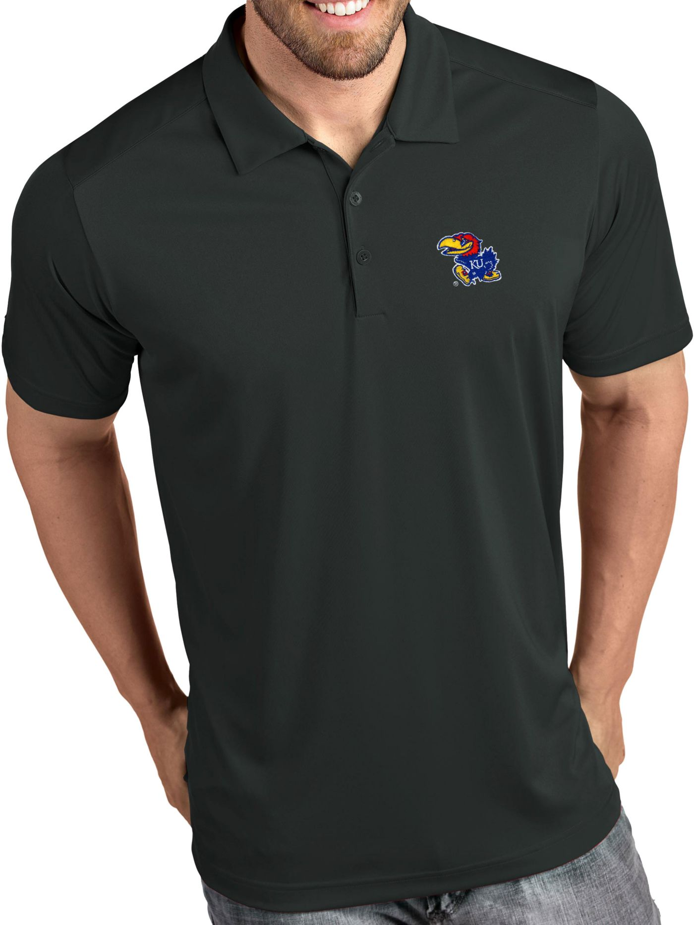 Antigua Men's Kansas Jayhawks Grey Tribute Performance Polo