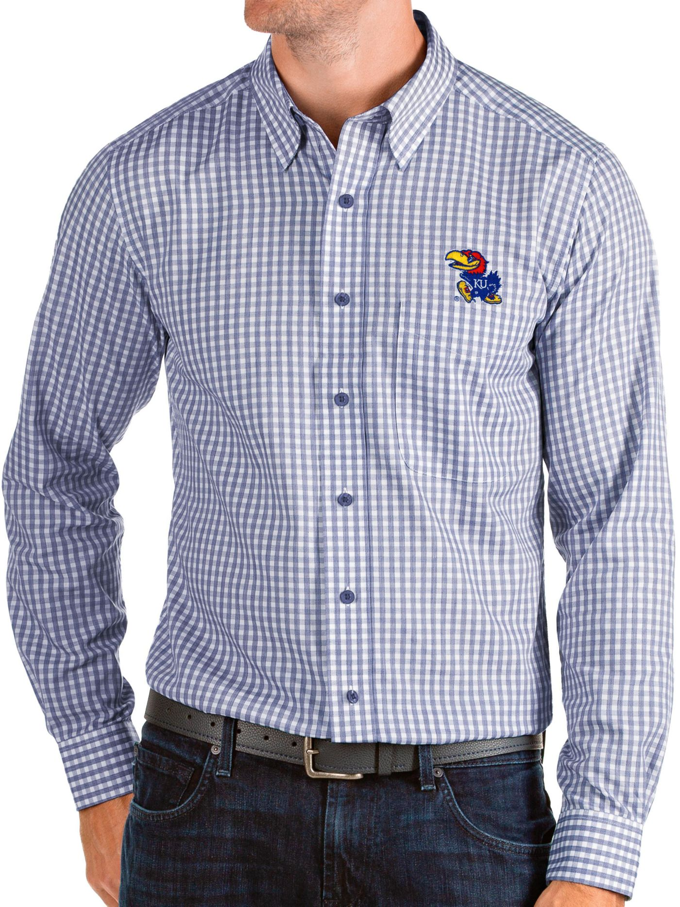 Antigua Men's Kansas Jayhawks Blue Structure Button Down Long Sleeve Shirt