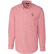 Cutter & Buck Men's Oklahoma Sooners Crimson Stretch Gingham Long Sleeve Shirt
