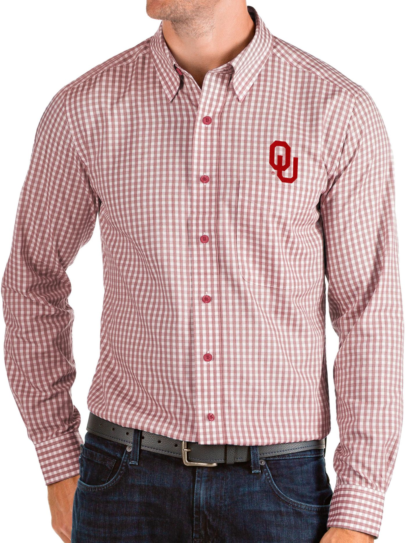 Antigua Men's Oklahoma Sooners Crimson Structure Button Down Long Sleeve Shirt