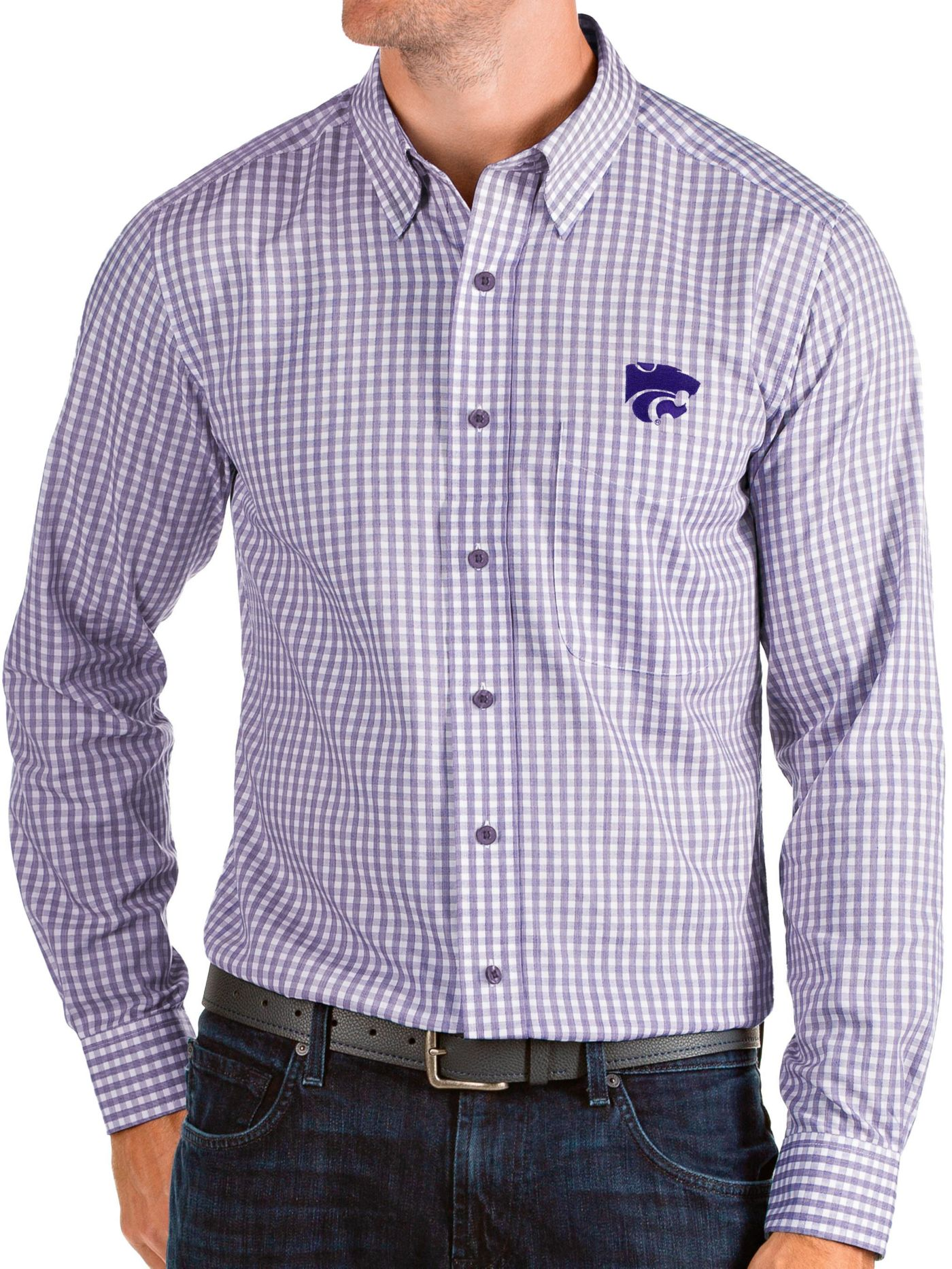 Antigua Men's Kansas State Wildcats Purple Structure Button Down Long Sleeve Shirt