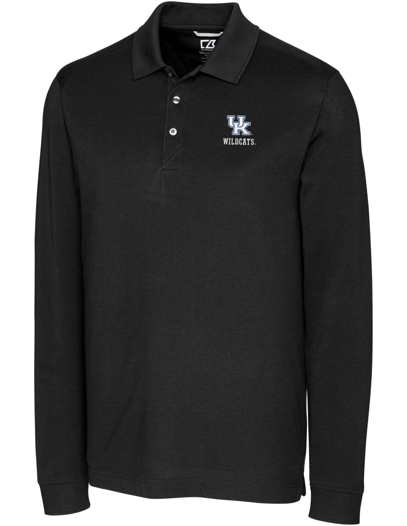 Cutter & Buck Men's Kentucky Wildcats Advantage Long Sleeve Black Polo