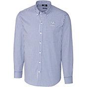 Cutter & Buck Men's Kentucky Wildcats Blue Stretch Gingham Long Sleeve Shirt
