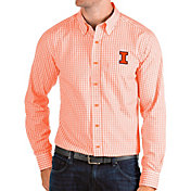Antigua Men's Illinois Fighting Illini Orange Structure Button Down Long Sleeve Shirt