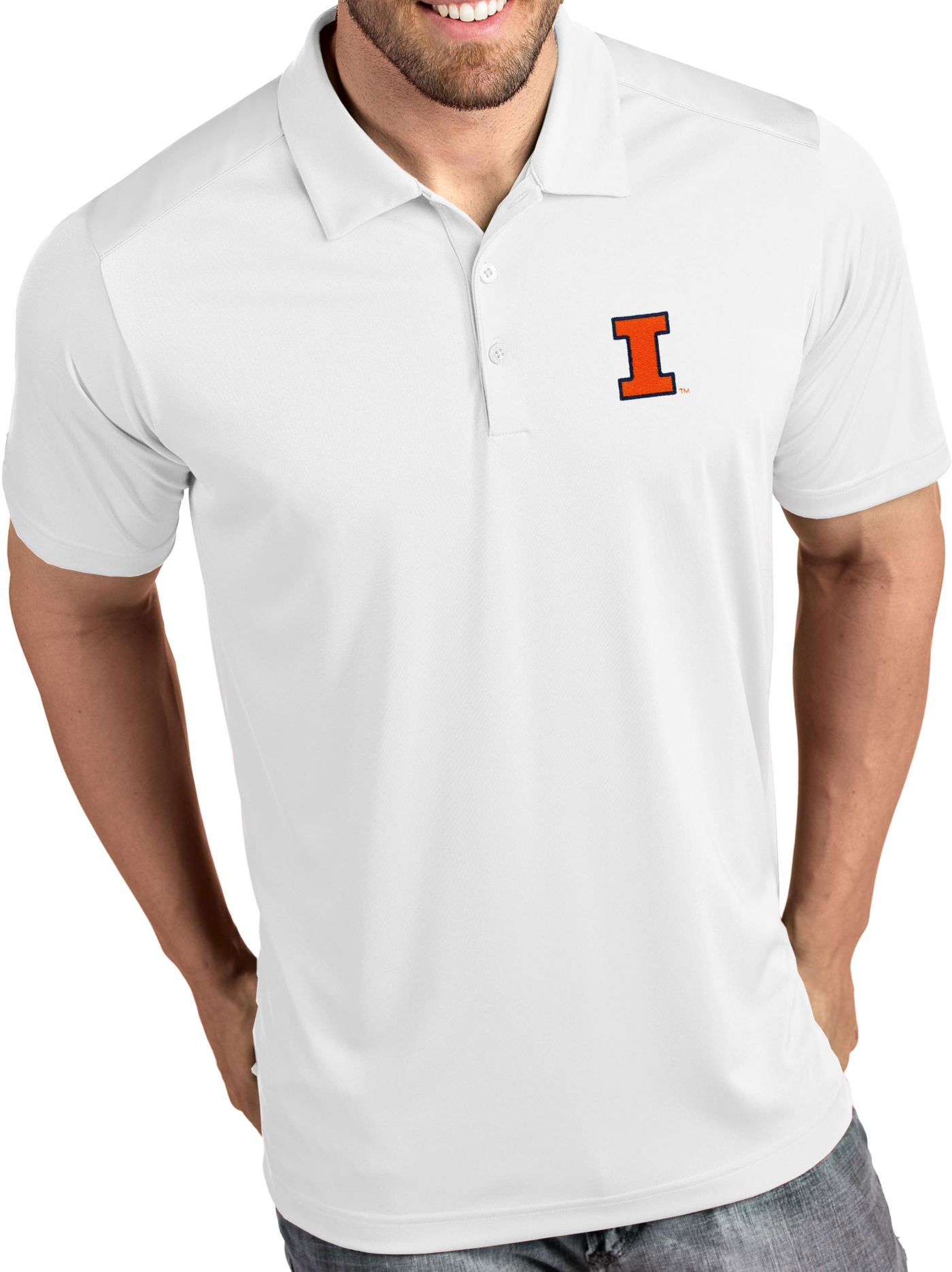 Antigua Men's Illinois Fighting Illini Tribute Performance White Polo