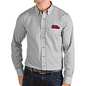 Antigua Men's Ole Miss Rebels Grey Structure Button Down Long Sleeve Shirt