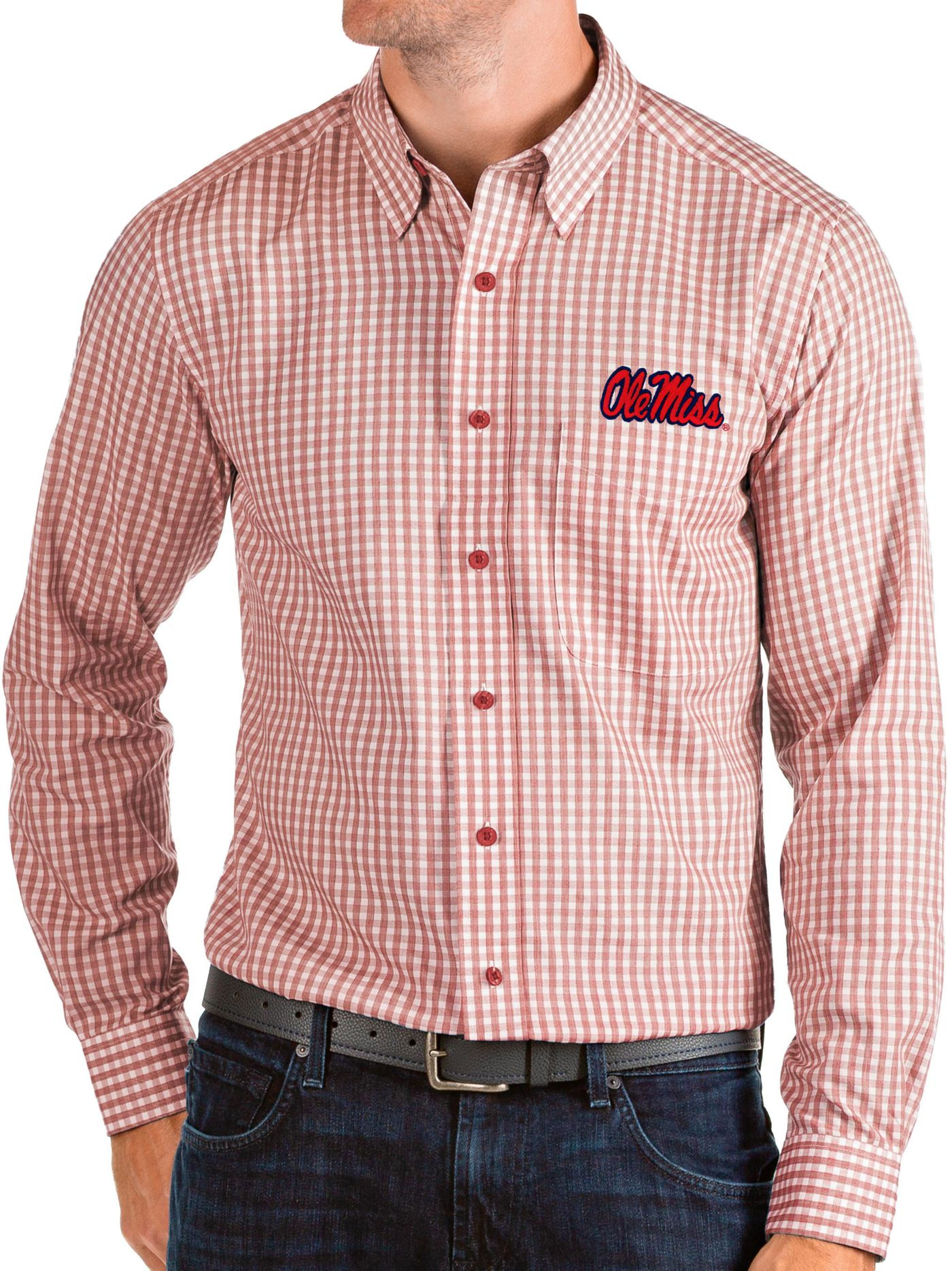 Antigua Men's Ole Miss Rebels Red Structure Button Down Long Sleeve Shirt