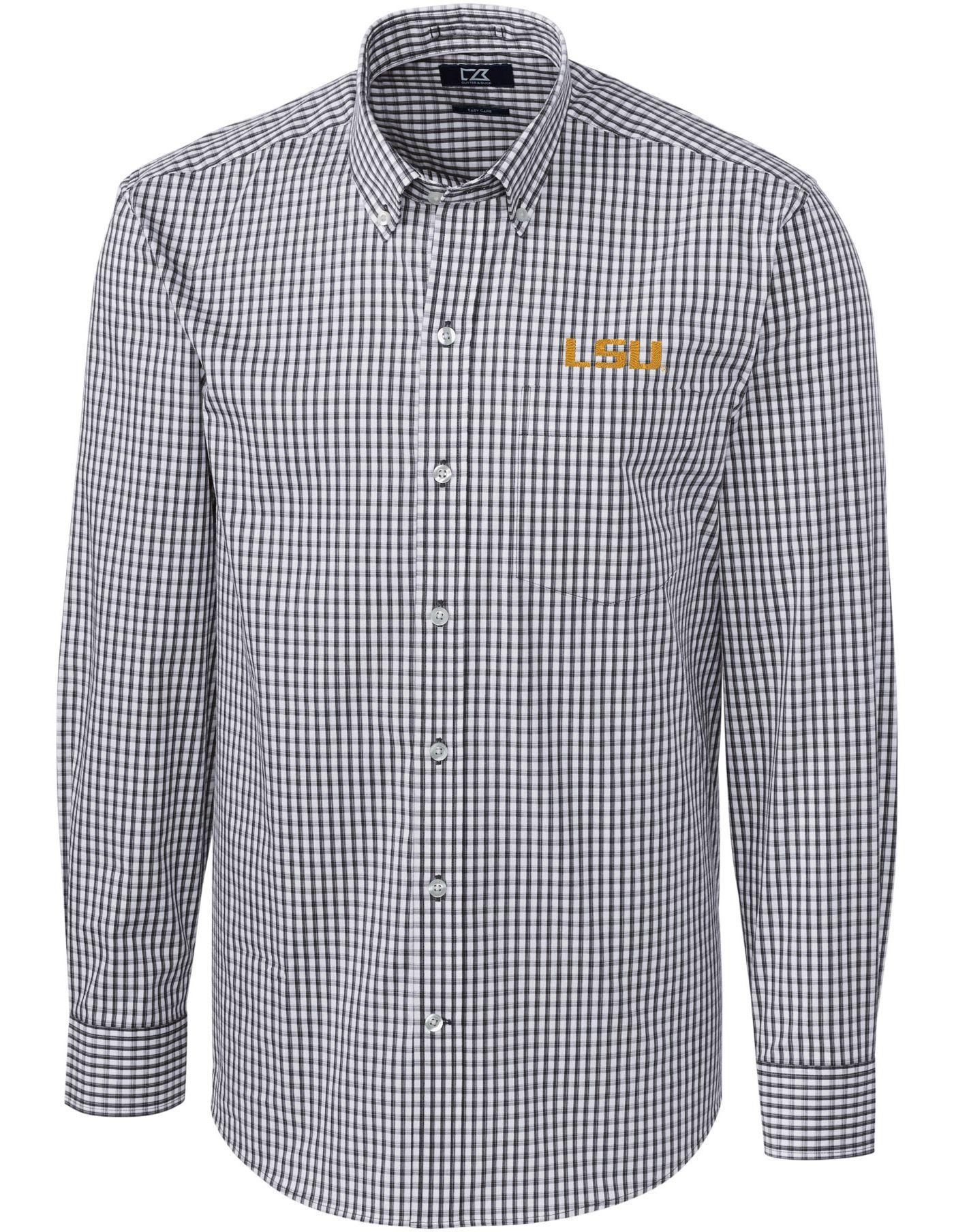 Cutter & Buck Men's LSU Tigers Grey Stretch Gingham Long Sleeve Shirt