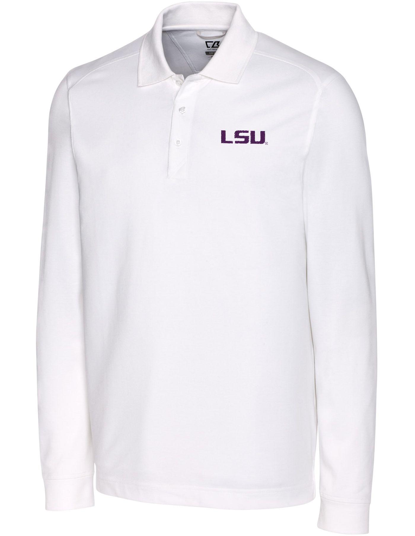 Cutter & Buck Men's LSU Tigers Advantage Long Sleeve White Polo