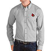 Antigua Men's Louisville Cardinals Grey Structure Button Down Long Sleeve Shirt