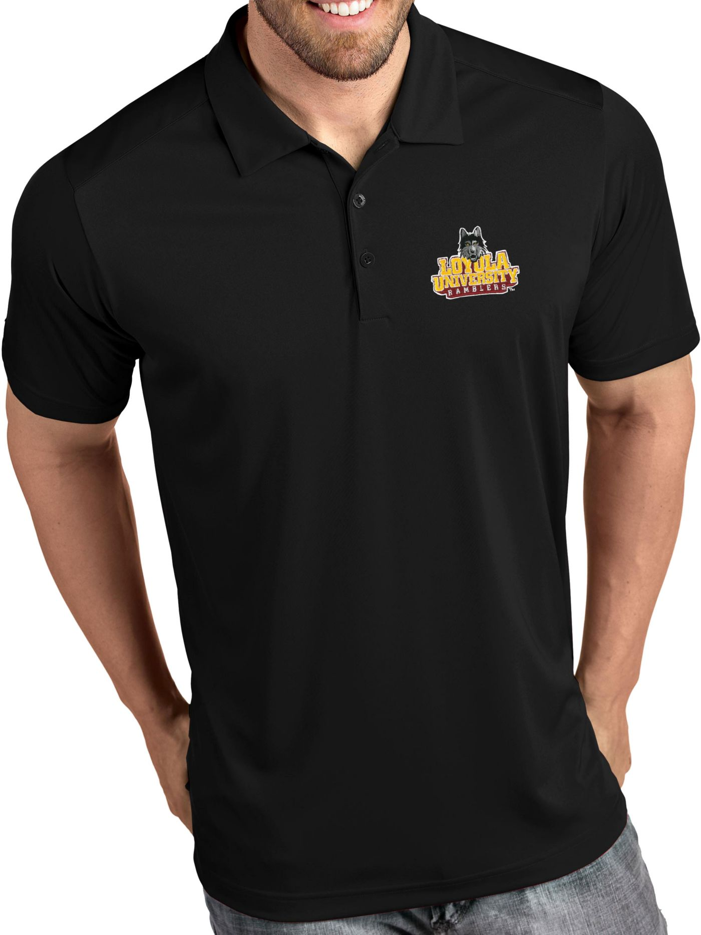 Antigua Men's Loyola-Chicago Ramblers Tribute Performance Black Polo