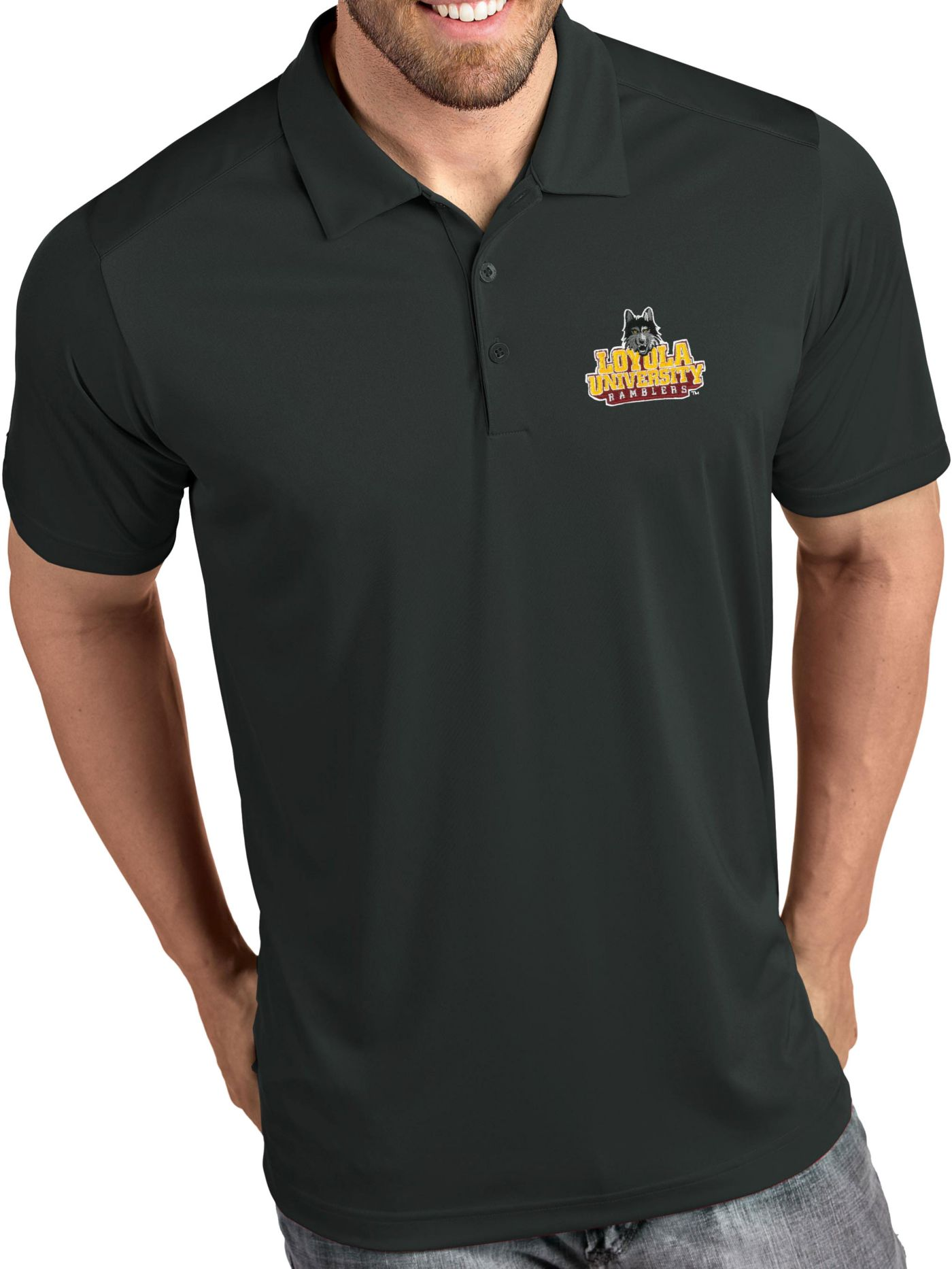 Antigua Men's Loyola-Chicago Ramblers Grey Tribute Performance Polo