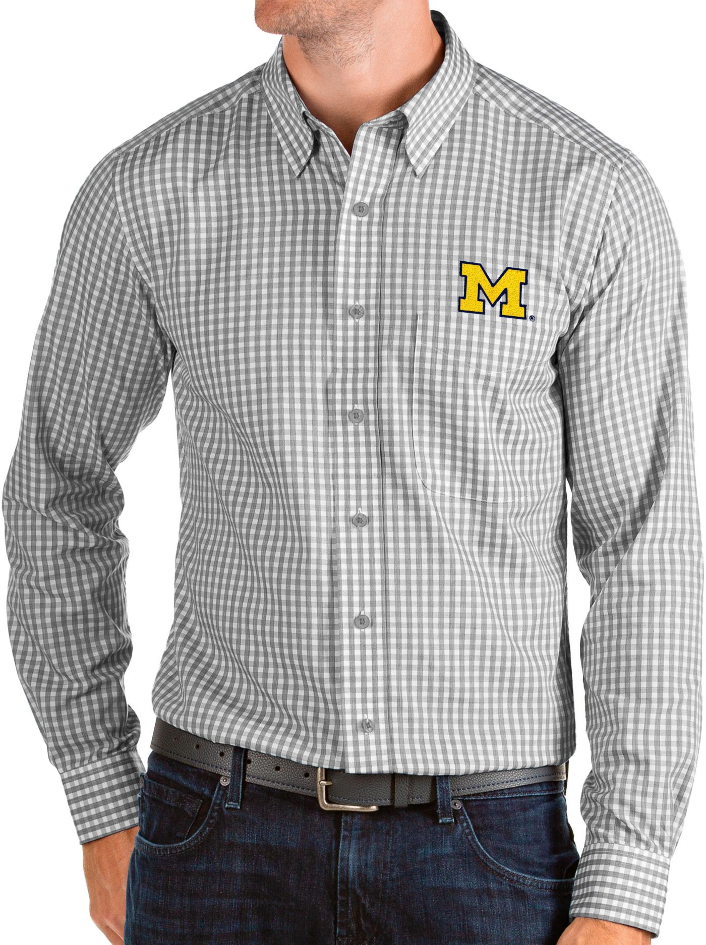 Antigua Men's Michigan Wolverines Grey Structure Button Down Long Sleeve Shirt
