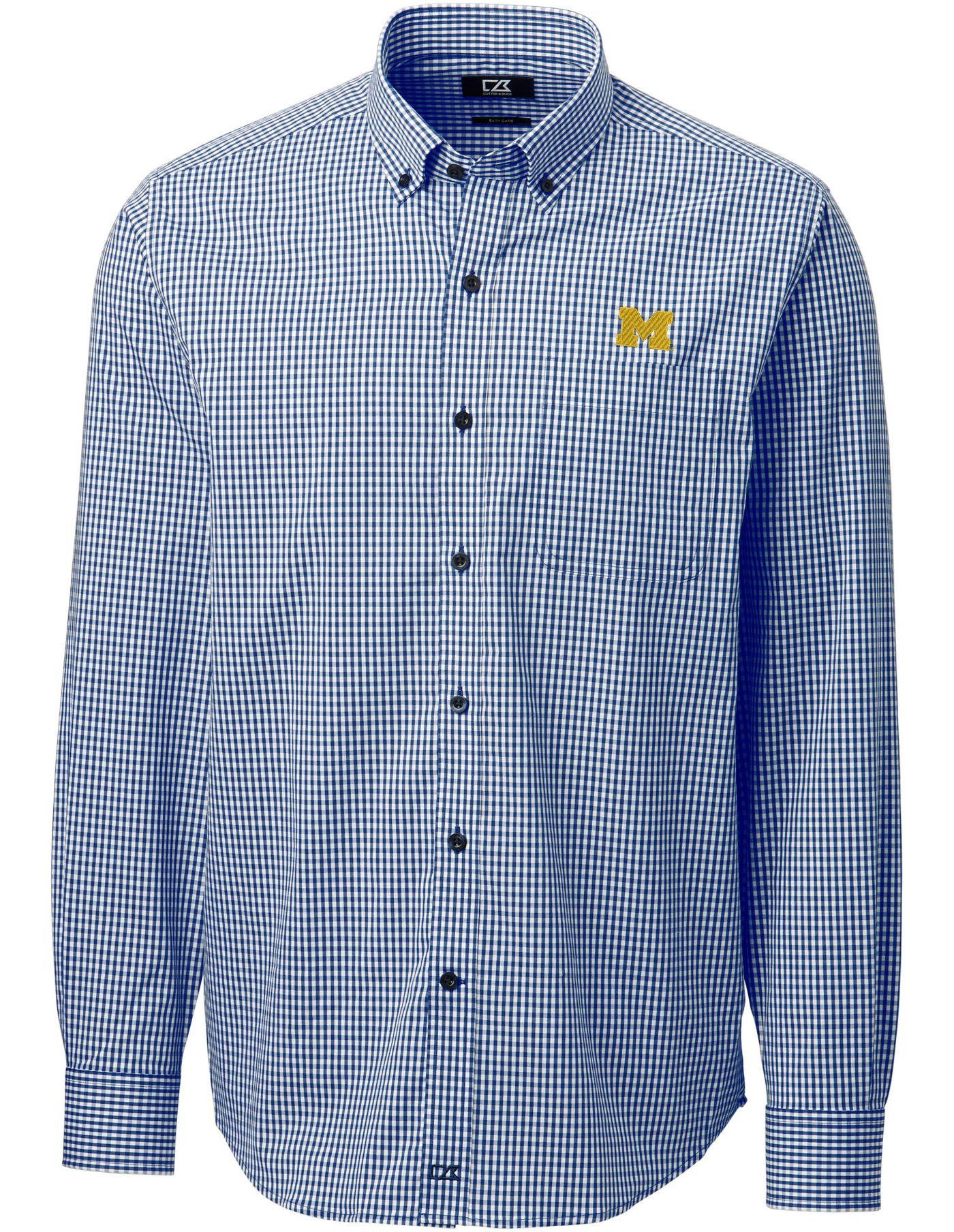 Cutter & Buck Men's Michigan Wolverines Blue Anchor Gingham Long Sleeve Shirt