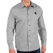 Antigua Men's Michigan State Spartans Structure Button Down Long Sleeve Black Shirt