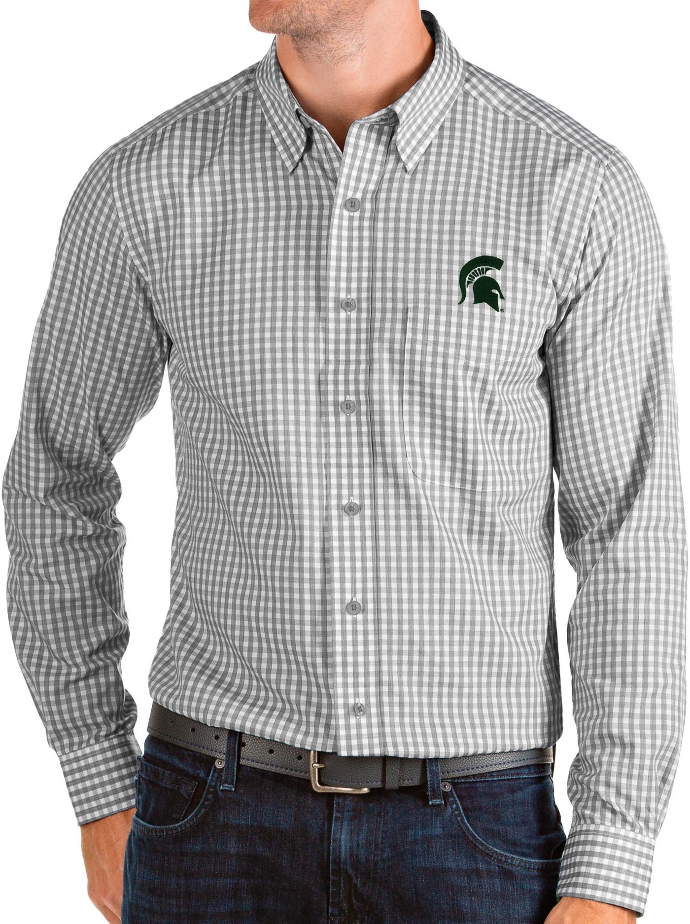 Antigua Men's Michigan State Spartans Grey Structure Button Down Long Sleeve Shirt