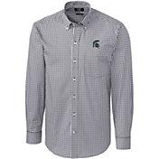 Cutter & Buck Men's Michigan State Spartans Grey Stretch Gingham Long Sleeve Shirt