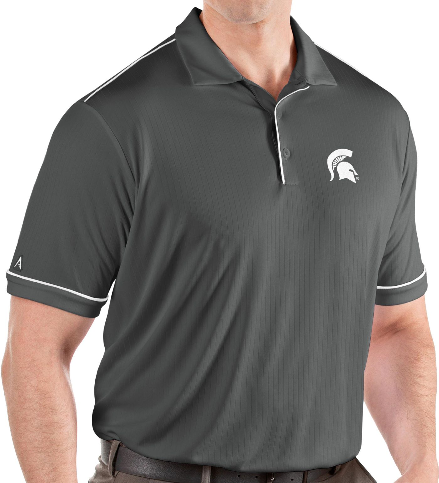 Antigua Men's Michigan State Spartans Grey Salute Performance Polo