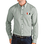 Antigua Men's Miami Hurricanes Green Structure Button Down Long Sleeve Shirt