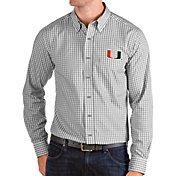 Antigua Men's Miami Hurricanes Grey Structure Button Down Long Sleeve Shirt