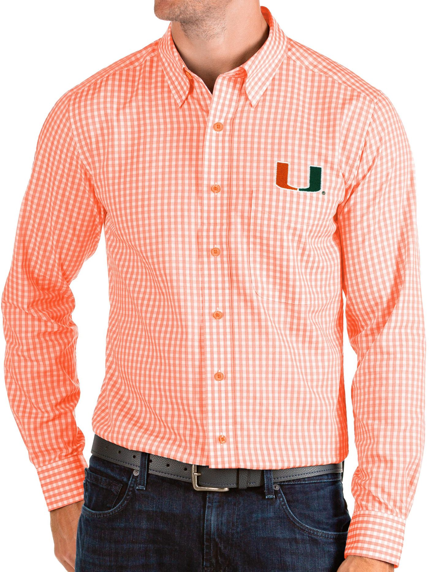 Antigua Men's Miami Hurricanes Green Structure Button Down Long Sleeve Shirt