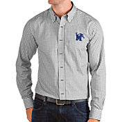 Antigua Men's Memphis Tigers Grey Structure Button Down Long Sleeve Shirt