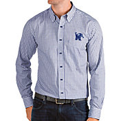 Antigua Men's Memphis Tigers Blue Structure Button Down Long Sleeve Shirt