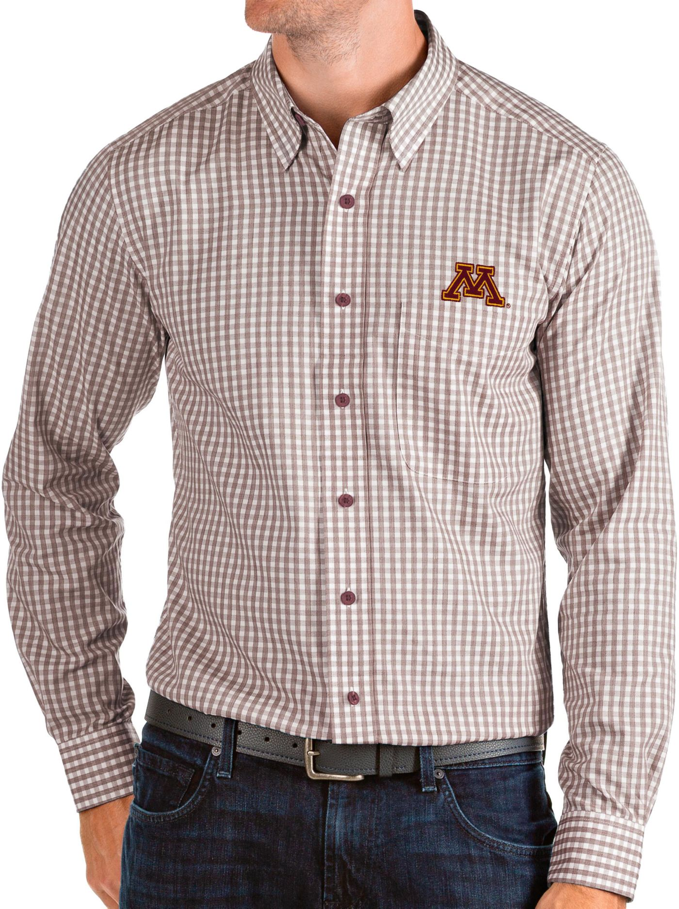Antigua Men's Minnesota Golden Gophers Maroon Structure Button Down Long Sleeve Shirt