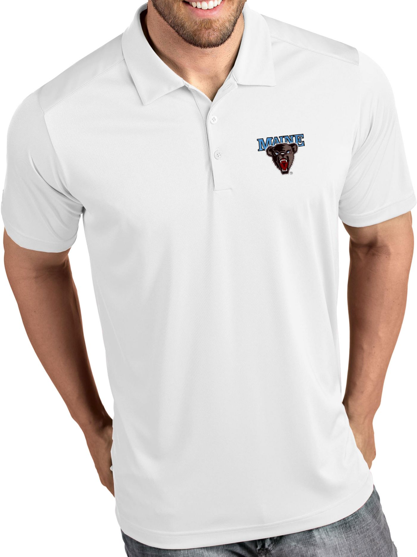 Antigua Men's Maine Black Bears Tribute Performance White Polo