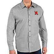 Antigua Men's Maryland Terrapins Structure Button Down Long Sleeve Black Shirt