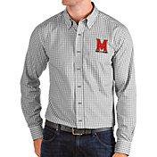 Antigua Men's Maryland Terrapins Grey Structure Button Down Long Sleeve Shirt