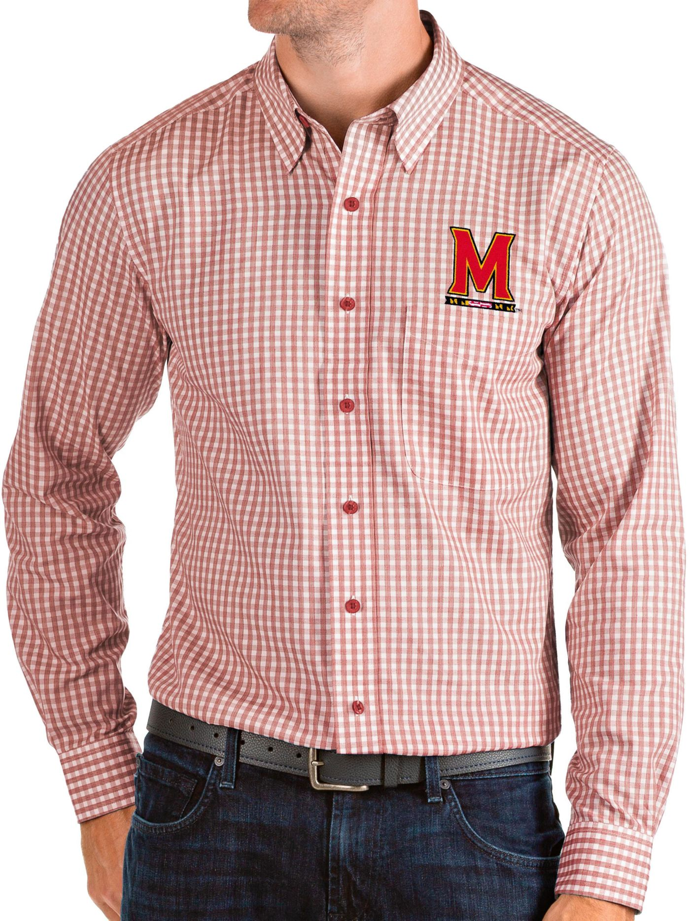 Antigua Men's Maryland Terrapins Red Structure Button Down Long Sleeve Shirt
