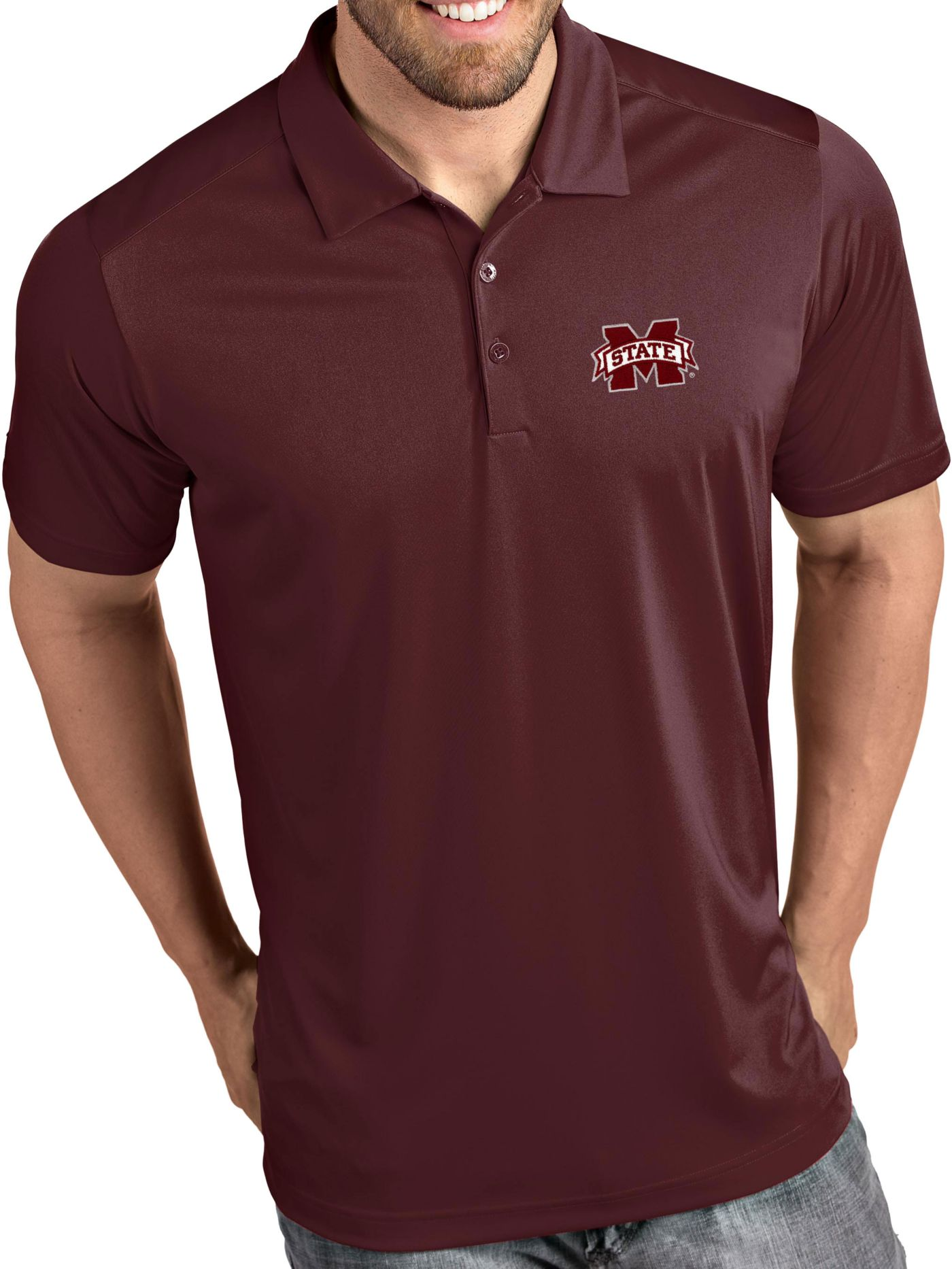 Antigua Men's Mississippi State Bulldogs Maroon Tribute Performance Polo