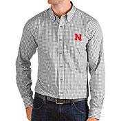 Antigua Men's Nebraska Cornhuskers Grey Structure Button Down Long Sleeve Shirt