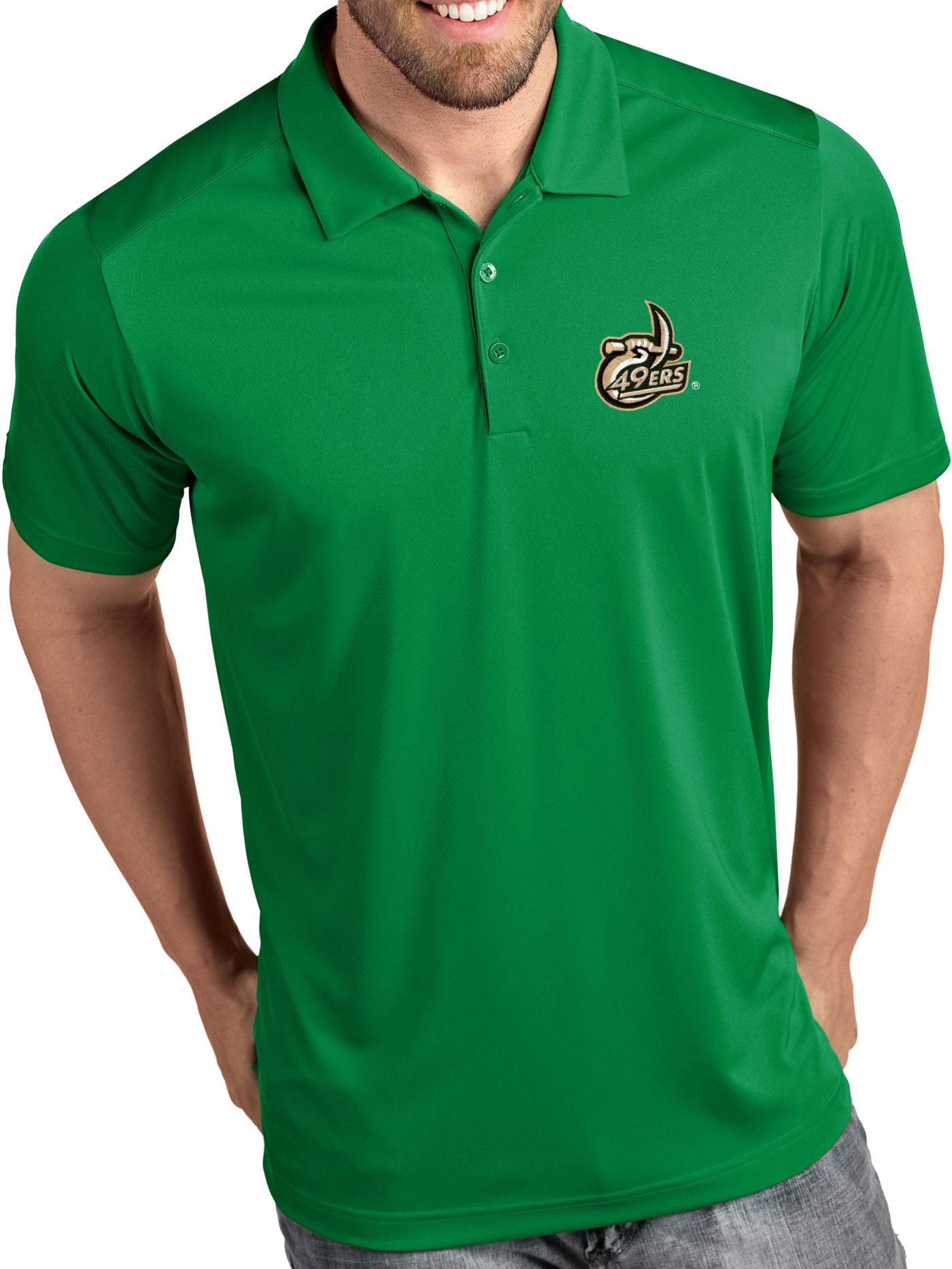 Antigua Men's Charlotte 49ers Green Tribute Performance Polo