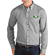 Antigua Men's North Dakota Fighting Hawks Structure Button Down Long Sleeve Black Shirt