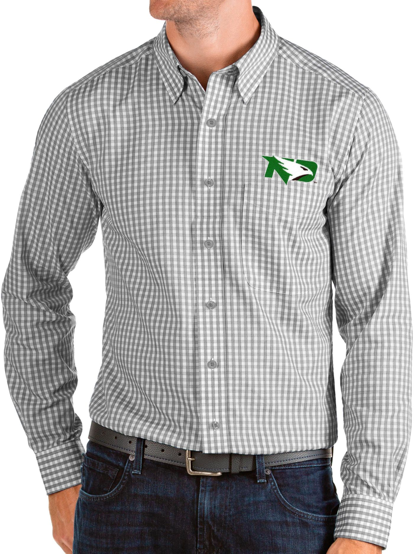 Antigua Men's North Dakota Fighting Hawks Grey Structure Button Down Long Sleeve Shirt